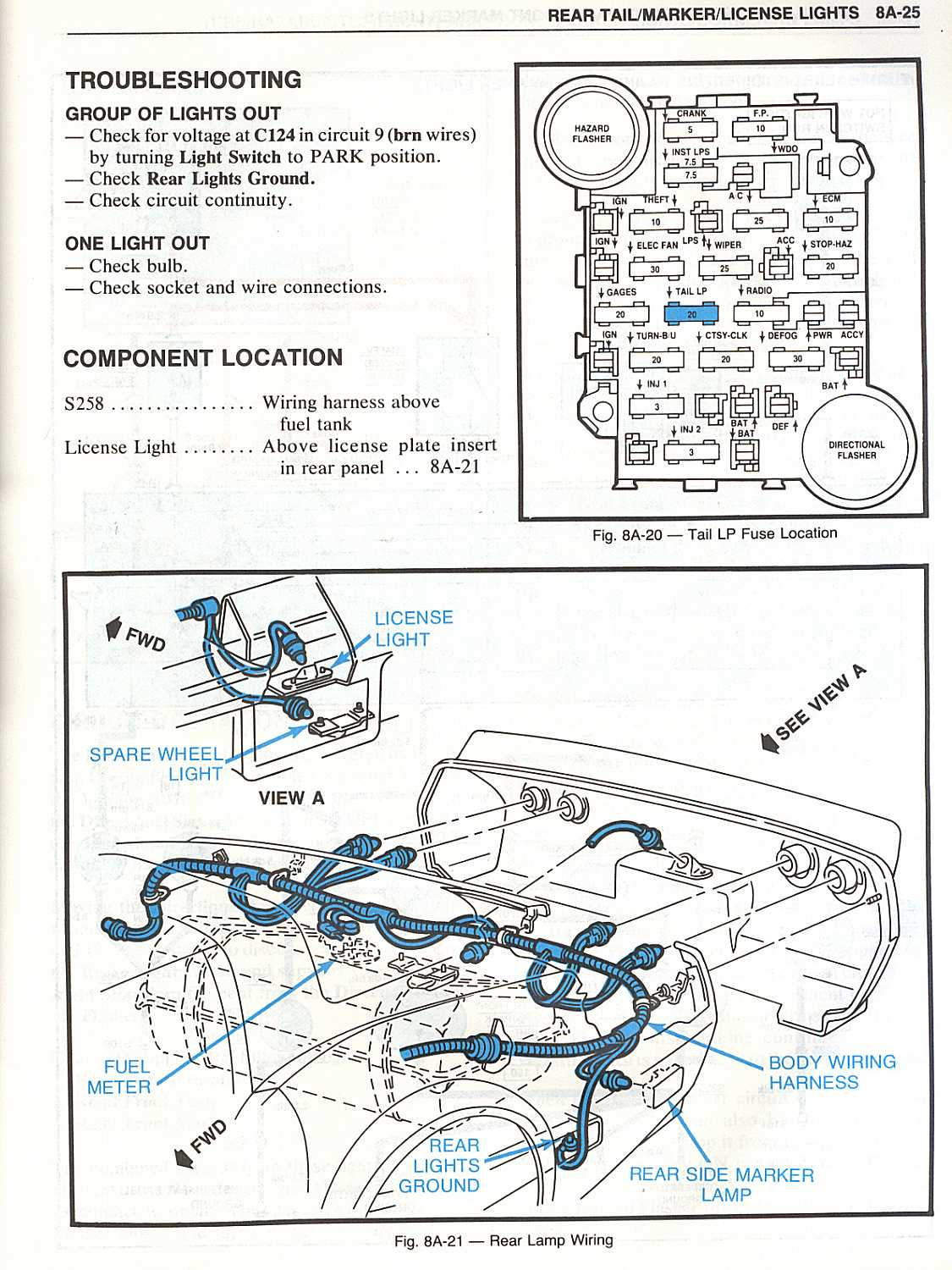Vette 82 Body And Chassis Electrical Troubleshooting Http Www Marker Lamp Wire Harness Warning Lights 8a 40 41 Size